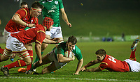 Ireland U20's Jack Kelly falls just short of the Welsh line<br /> <br /> Photographer Alex Dodd/CameraSport<br /> <br /> RBS Six Nations U20 Championship Round 4 - Wales U20s v Ireland U20s - Saturday 11th March 2017 - Parc Eirias, Colwyn Bay, North Wales<br /> <br /> World Copyright &copy; 2017 CameraSport. All rights reserved. 43 Linden Ave. Countesthorpe. Leicester. England. LE8 5PG - Tel: +44 (0) 116 277 4147 - admin@camerasport.com - www.camerasport.com