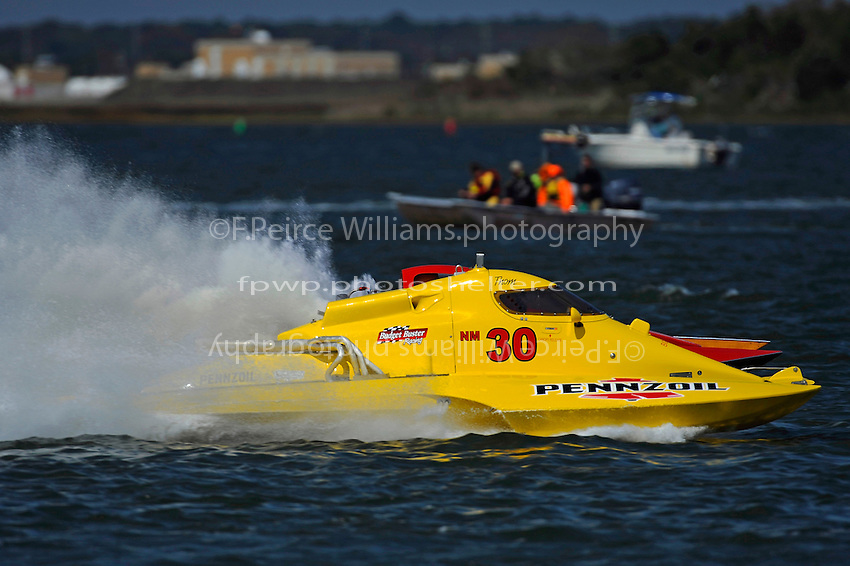 "Thom Heins, NM-30 ""Pennzoil Big Bird"" and George Conover, Sr., NM-18 (National Mod hydroplane(s)"