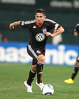 Jaime Moreno #99 of D.C. United pushes forward during an MLS match against the New England Revolution on April 3 2010, at RFK Stadium in Washington D.C.
