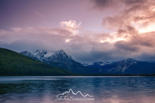 Idaho, Southwest, Stanley. Stanley Lake and Mt. McGown under evening skies in autumn.