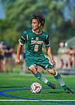 5 September 2014: University of Vermont Catamount Midfielder Daniel Giron, a Senior from Guatemala City, Guatemala, in action against the La Salle University Explorers at Virtue Field in Burlington, Vermont. The Catamounts, playing a man down for 66 minutes, defeated the visiting Explorers 2-1 on the first day of the Morgan Stanley Windjammer Classic Men's Soccer Tournament. Mandatory Credit: Ed Wolfstein Photo *** RAW (NEF) Image File Available ***