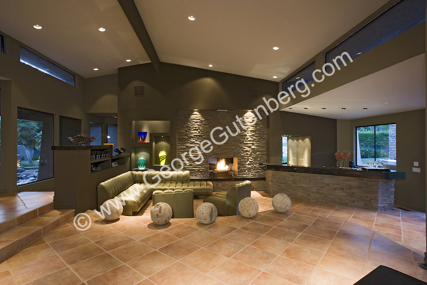 Stock Photo Of Living Room With Stack Stone Walls Stock Photography Archive S P A