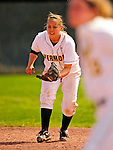 25 April 2009: University of Vermont Catamount shortstop Rebecca Heimbigner, a Freshman from Napa, CA, in action against the Boston University Terriers at Archie Post Field in Burlington, Vermont. Sadly, the Catamounts are playing their last season of softball, as the program has been marked for elimination due to budgetary constraints at the University. Mandatory Photo Credit: Ed Wolfstein Photo