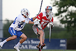 09 May 2015: Ohio State's Carter Brown (14) and Duke's Ethan Powley (44). The Duke University Blue Devils hosted the Ohio State University Buckeyes at Koskinen Stadium in Durham, North Carolina in a 2015 NCAA Division I Men's Lacrosse Tournament First Round match. Ohio State won the game 16-11.