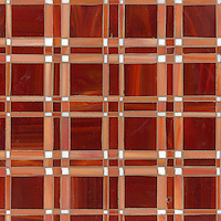 Rory, a jewel glass mosaic field shown in Ruby, Sardonyx and Moonstone, is part of the Plaids and Ginghams Collection by New Ravenna Mosaics.