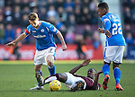 Hearts v St Johnstone&hellip;19.03.16  Tynecastle, Edinburgh<br />Arnaud Djoum is tackled by Chris Millar and Darnell Fisher<br />Picture by Graeme Hart.<br />Copyright Perthshire Picture Agency<br />Tel: 01738 623350  Mobile: 07990 594431