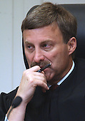 Prince William County (Virginia) circuit court judge LeRoy Millette, Jr., listens to testimony during the trial of sniper suspect John Allen Muhammad in courtroom 10 at the Virginia Beach Circuit Court in Virginia Beach, Virginia on October 27, 2003.<br /> Credit: Davis Turner - Pool via CNP