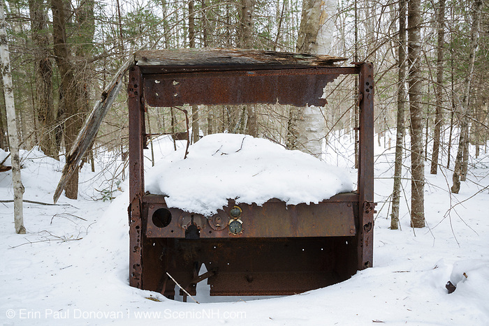 Abandoned truck in the Tunnel Brook drainage of Benton, New Hampshire USA during the winter months. This is possibly a 1920s International truck