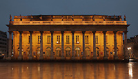 Grand Theatre de Bordeaux, designed by Victor Louis, 1731–1800, and inaugurated in 1780, in Bordeaux, Aquitaine, France. The building is neoclassical in style, with a portico of 12 Corinthian columns and an entablature with 12 statues representing 9 muses and 3 goddesses (Juno, Venus and Minerva), carved by Pierre-Francois Berruer and his assistant Van den Drix. The building is listed as a historic monument. Picture by Manuel Cohen