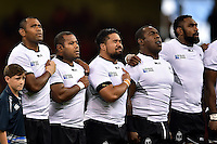 Campese Ma'afu of Fiji looks emotional as his team sing the national anthem. Rugby World Cup Pool A match between Wales and Fiji on October 1, 2015 at the Millennium Stadium in Cardiff, Wales. Photo by: Patrick Khachfe / Onside Images