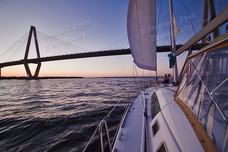 arthur ravenel jr bridge while sailing on the charleston harbor sunset beneteau 49