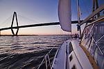 arthur ravenel jr bridge while sailing on the charleston harbor sunset beneteau 49
