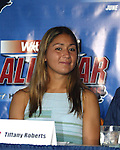 Carolina Courage midfielder Tiffany Roberts in Cary, North Carolina on 5/12/03 during a press conference announcing details of the 2003 WUSA All-Star Game.