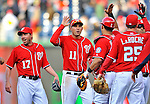 2 April 2011: Washington Nationals third baseman Ryan Zimmerman celebrates a win against the Atlanta Braves at Nationals Park in Washington, District of Columbia. The Nationals defeated the Braves 6-3 in the second game of their season opening series. Mandatory Credit: Ed Wolfstein Photo