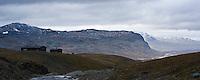 View north of Tjaktja hut and Alisvaggi valley, Kungsleden trail, Lapland, Sweden