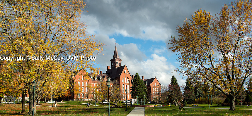View of Old Mill and the Howard Fountain on the UVM Green, Fall UVM Campus