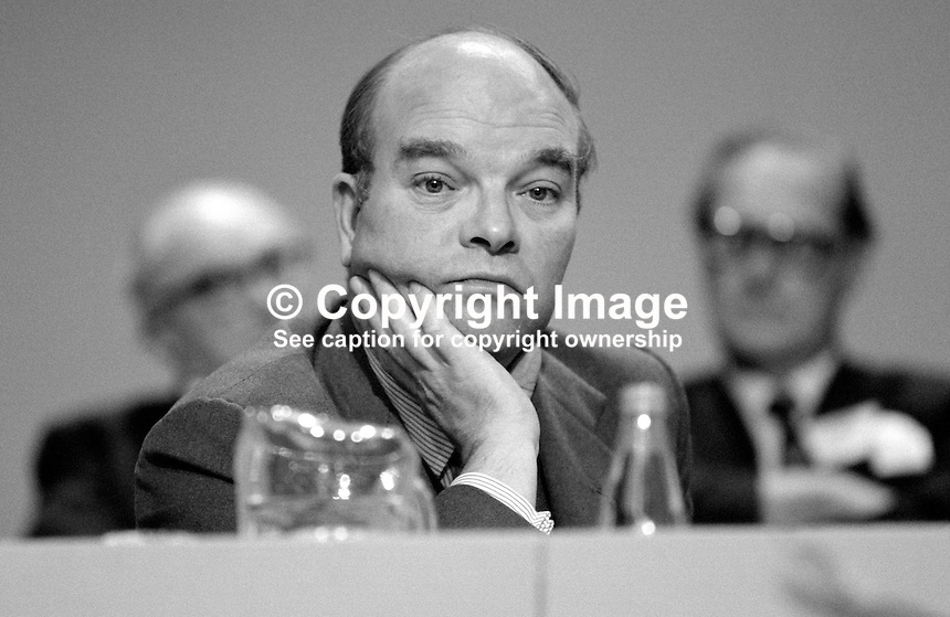 Ian Gow, MP, Conservative Party, UK, Minister for Housing, on the platform at annual conference, Brighton. This was the conference when the Provisional IRA exploded a bomb in the adjacent Grand Hotel. 19840146IG7..Copyright Image from Victor Patterson, 54 Dorchester Park, Belfast, UK, BT9 6RJ..Tel: +44 28 9066 1296.Mob: +44 7802 353836.Voicemail +44 20 8816 7153.Skype: victorpattersonbelfast.Email: victorpatterson@me.com.Email: victorpatterson@ireland.com (back-up)..IMPORTANT: If you wish to use this image or any other of my images please go to www.victorpatterson.com and click on the Terms & Conditions. Then contact me by email or phone with the reference number(s) of the image(s) concerned.