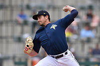 Starting pitcher Blake Taylor (28) of the Columbia Fireflies delivers a pitch in a game against the Lexington Legends on Sunday, April 23, 2017, at Spirit Communications Park in Columbia, South Carolina. Lexington won, 4-2. (Tom Priddy/Four Seam Images)