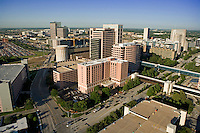 Stock photo of the Texas Medical Center in Houston,Texas featuring the Jesse H. Jones Rotary House International in the foreground.
