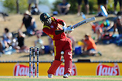 19.02.2015. Nelson, New Zealand.  Solomon Mire from Zimbabwe during the 2015 ICC Cricket World Cup match between Zimbabwe and United Arab Emirates. Saxton Oval, Nelson, New Zealand.