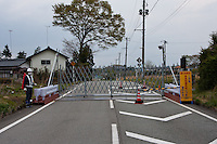 A road block at the borders of the permanent exclusion zone inside the 20 kilometre zone originally set up after the accident at Fukushima Daichi nuclear power station in March 2011. Near Nahara, Fukushima, Japan Tuesday April 30th 2013