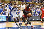 02 November 2013: Drury's Cameron Adams (right) and Duke's Andre Dawkins (left). The Duke University Blue Devils played the Drury University Panthers in a men's college basketball exhibition game at Cameron Indoor Stadium in Durham, North Carolina. Duke won the game 81-65.