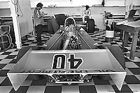 INDIANAPOLIS, IN: Wally Dallenbach (seated, upper right) waits to drive his Wildcat II 2/DGS during a practice session for the Indianapolis 500 on May 29, 1977, at the Indianapolis Motor Speedway.