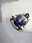5 January 2008: NASCAR Nextel Cup competitor Boris Said banks a turn at the 3rd Annual Chevy Geoff Bodine Bobsled Challenge at the Olympic Sports Complex on Mount Van Hoevenberg, in Lake Placid, New York. Said finished first in the morning competition to take the gold medal...Mandatory Photo Credit: Ed Wolfstein Photo