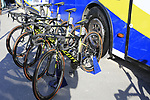Orica-Scott team bikes at the team bus before the start of Gent-Wevelgem in Flanders Fields 2017, running 249km from Denieze to Wevelgem, Flanders, Belgium. 26th March 2017.<br /> Picture: Eoin Clarke | Cyclefile<br /> <br /> <br /> All photos usage must carry mandatory copyright credit (&copy; Cyclefile | Eoin Clarke)