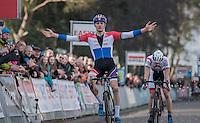 Mathieu Van der Poel (NED/Beobank-Corendon) wins the race in a sprint against Kevin Pauwels (BEL/Marlux - Napoleon Games) &amp; Laurens Sweeck (BEL/Era-Circus)<br /> <br /> men's race<br /> CX Soudal Classics Leuven/Belgium 2017