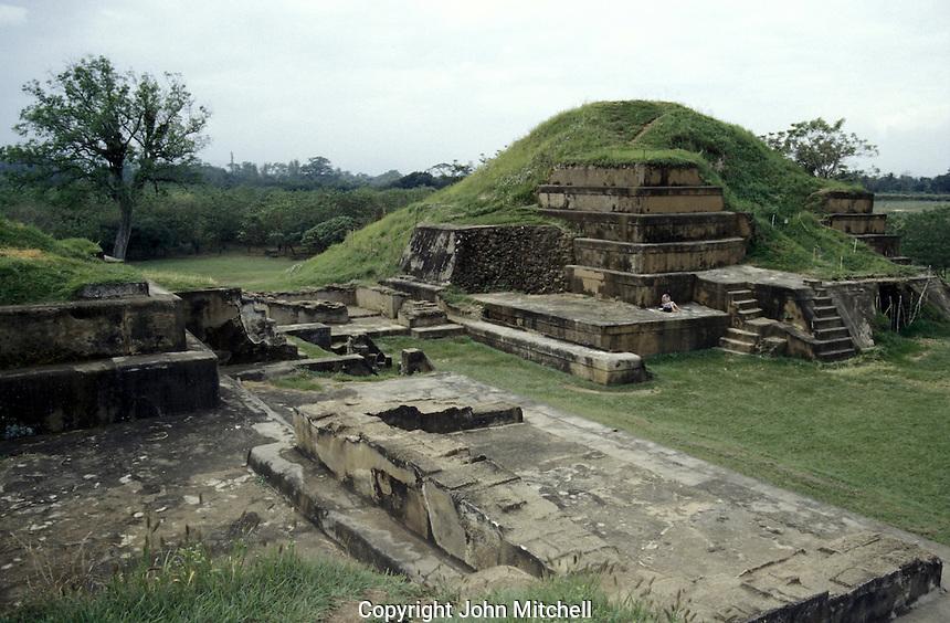 Main pyramid at the Mayan ruins of San Andres in El Salvador, Central America
