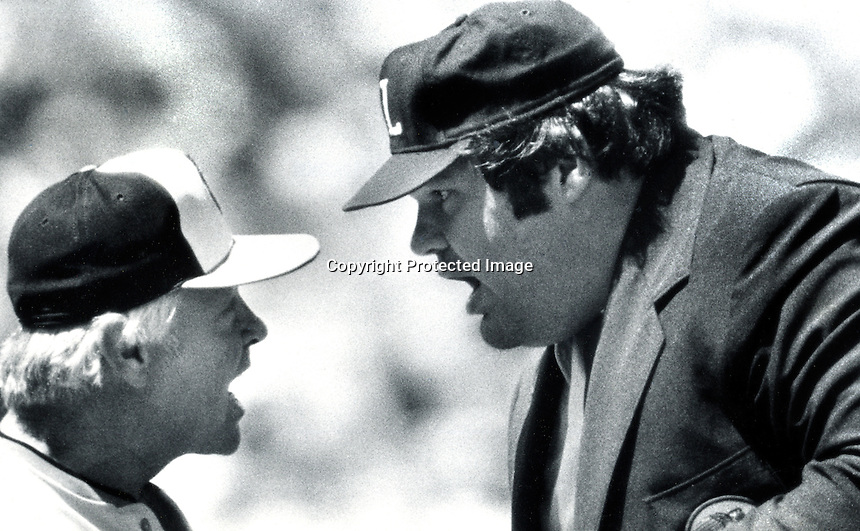 Baltimore Orioles manager Earl Weaver and umpire .Ken Kaiser go face to face. (1980 photo by Ron Riesterer)