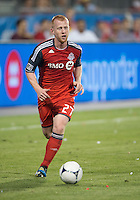 12 September 2012: Toronto FC defender Richard Eckersley #27 in action during an MLS game between the Chicago Fire and Toronto FC at BMO Field in Toronto, Ontario..The Chicago Fire won 2-1..