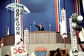 Governor Jimmy Carter (Democrat of Georgia), the 1976 Democratic Party nominee for President of the United States, acknowledges the cheers of the delegates as he delivers his acceptance speech at the 1976 Democratic Convention at Madison Square Garden, New York, New York on July 15, 1976.<br /> Credit: Arnie Sachs / CNP