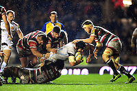 Mitch Lees of Exeter Chiefs is tackled to ground. Aviva Premiership match, between Leicester Tigers and Exeter Chiefs on March 3, 2017 at Welford Road in Leicester, England. Photo by: Patrick Khachfe / JMP
