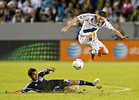 CARSON, CA - November 4, 2012: San Jose Quakes midfielder Rafael Baca (30) and LA Galaxy forward Robbie Keane (7) during the LA Galaxy vs the San Jose Earthquakes at the Home Depot Center in Carson, California. Final score LA Galaxy 0, San Jose Earthquakes 1.