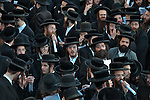 Ultra-Orthodox Jewish men during a protest against a planned construction of a new neighborhood, in the town of Ramat Beit Shemesh. They claim the designated construction area is full of ancient burial caves.