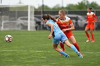 Piscataway, NJ - Saturday May 20, 2017: Kelley O'Hara, Janine Beckie during a regular season National Women's Soccer League (NWSL) match between Sky Blue FC and the Houston Dash at Yurcak Field.  Sky Blue defeated Houston, 2-1.