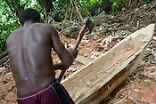Bruno Olkarea, canoe maker, in Matong village, in the Tokai matong logging concession- logged by Rimbunan Hijau, East New Britain Island, Papua New Guinea, Monday 22nd September 2008. The logging in this concession is run by Malaysian giants company Rimbunan Hijau.