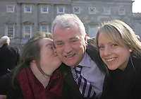 09/03/2011.Independent TD Finian McGrath with daughters Cliodhna & Caoimhe.during the 1st day of the 31st Dail.at Leinster House,  Dublin..Photo: Gareth Chaney Collins