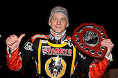 Fredrik Lindgren of Wolves with the Elite Shield - Lakeside Hammers vs Wolverhampton Wolves, Elite Shield Speedway at the Arena Essex Raceway, Purfleet - 26/03/10 - MANDATORY CREDIT: Rob Newell/TGSPHOTO - Self billing applies where appropriate - 0845 094 6026 - contact@tgsphoto.co.uk - NO UNPAID USE.