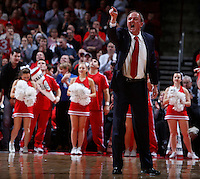 Ohio State Buckeyes head coach Thad Matta yells across the court during the first half of Saturday's NCAA Division I basketball game against the North Dakota State Bison at Value City Arena in Columbus on December 14, 2013.(Barbara J. Perenic/The Columbus Dispatch)
