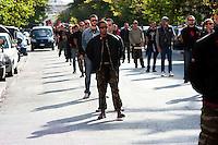 Roma 21 Aprile 2012.Gli Antifascisti in corteo,al quartiere San Lorenzo, portano un omaggio floreale al monumento dei caduti nella lotta per la liberazione al nazifascismo al cimitero del Verano ..Rome April 21, 20127..Anti-Fascists in the parade carrying a wreath at the monument of the fallen in the struggle for the liberation of Nazi-fascism in the Verano cemetery.