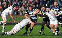 Max Lahiff of Bath Rugby takes on the London Irish defence. Aviva Premiership match, between Bath Rugby and London Irish on March 5, 2016 at the Recreation Ground in Bath, England. Photo by: Patrick Khachfe / Onside Images