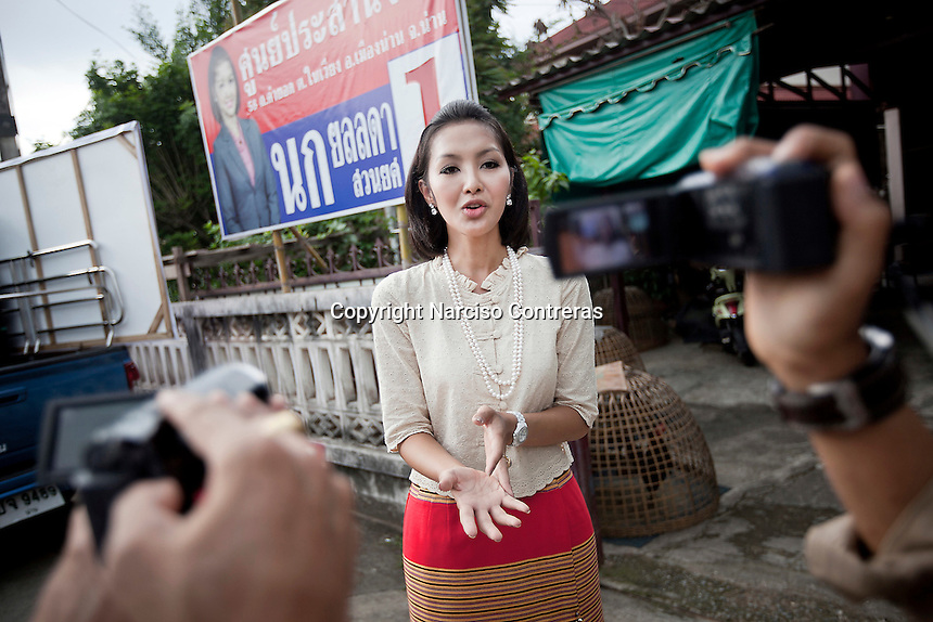 "YOLLANDA ""NOK"" SUANYOT speechs to the Thai media after she was declared winner of the provincial elections for government in Nan, Thailand. Known formerly as a beauty queen, is running today a political campaign for the local rule of Nan city. 30-year-old Yollada Suanyot, who was born a male, has become the first transgender to register as an election candidate. The elections were hold on last May 27th in 24 constituencies in 15 districts, where she was declared winner with 3,812 point for the first ranking. In accord with the Thai media this is the first time in Thailand that a transgender is taking part in a provincial election."