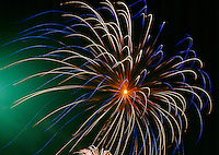 FIREWORKS<br /> An Exothermic Reaction<br /> The red, blue, yellow &amp; green colors are produced by salts of strontium, copper, sodium &amp; barium respectively.