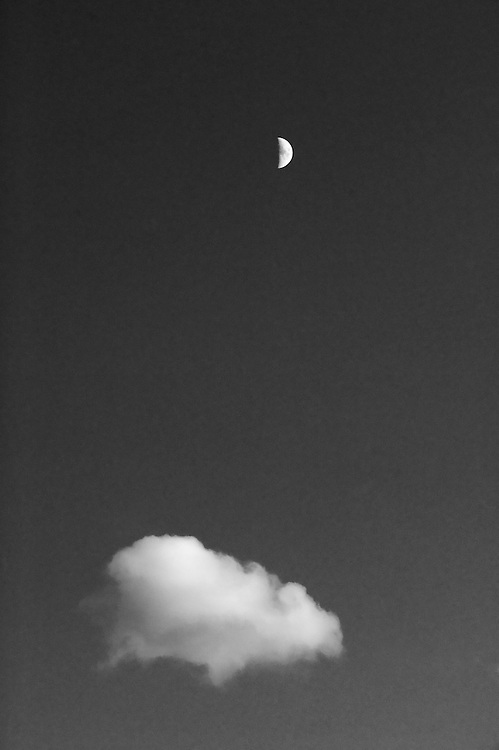 Half moon and cloud