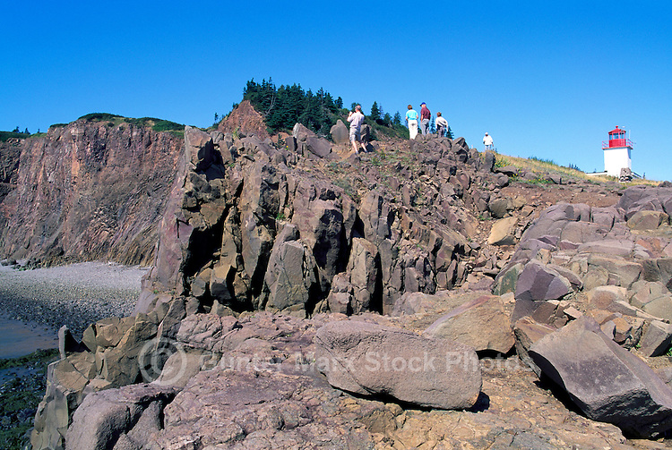 Cape d'Or Lighthouse, NS, Nova Scotia, Canada - Basalt Headlands and Cliffs along Rugged Bay of Fundy Coastline and Minas Basin - Fundy Shore & Annapolis Valley Region