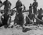 Marines guard Japanese prisoners taken in the Battle of Tarawa.
