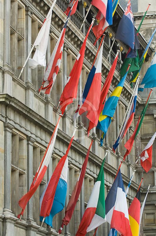 Belgium, Antwerp, International flags on Town Hall, Stadhuis,